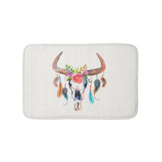 Beige Tribal Pattern And Bull Skull Bath Mat