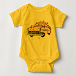 Beige Two Tone '54 Chevy in Flames Baby's Baby Bodysuit