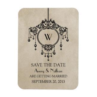 Beige Vintage Chandelier Save the Date Magnet