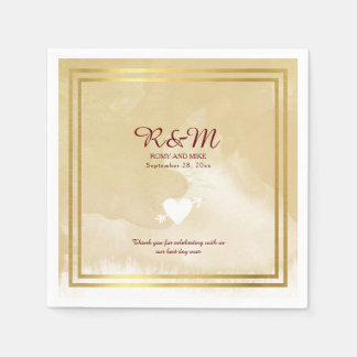 beige watercolor on white personalized wedding paper napkin