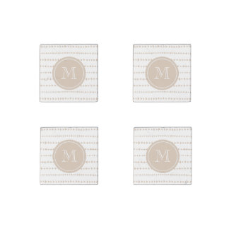 Beige White Aztec Arrows Monogram Stone Magnet