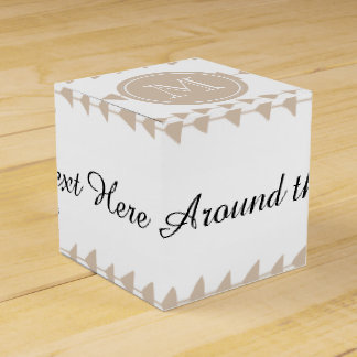 Beige White Aztec Arrows Monogram Wedding Favor Box