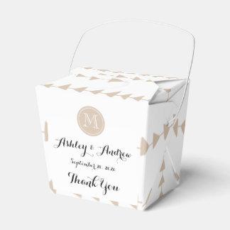 Beige White Aztec Arrows Monogram Wedding Favor Box