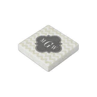 Beige White Chevron Black Quatrefoil 3 Monogram Stone Magnet