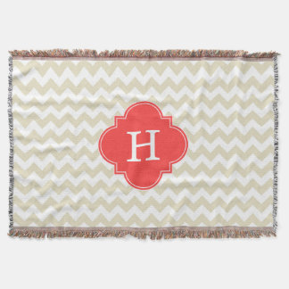 Beige White Chevron Coral Red Quatrefoil Monogram Throw Blanket