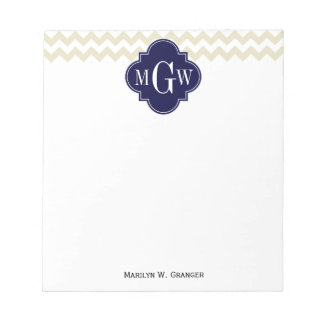 Beige White Chevron Navy Quatrefoil 3 Monogram Notepad
