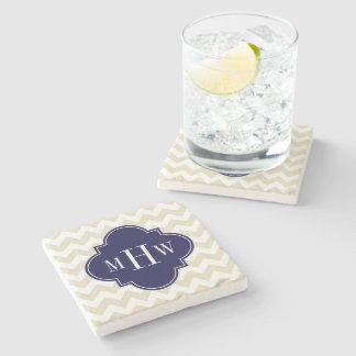 Beige White Chevron Navy Quatrefoil 3 Monogram Stone Coaster