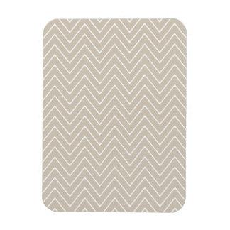 Beige White Chevron Pattern Vinyl Magnet