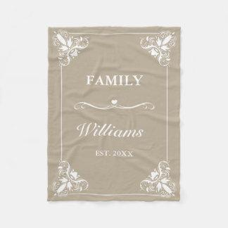Beige & White Decorative Frame Custom Family Name Fleece Blanket