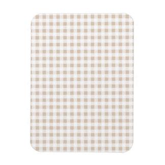 Beige White Gingham Pattern Flexible Magnet