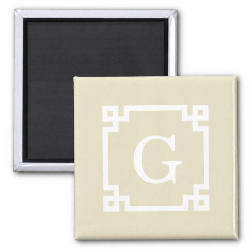 Beige White Greek Key Frame #2 Initial Monogram Fridge Magnet