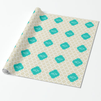 Beige White LG Chevron Teal Name Monogram Wrapping Paper