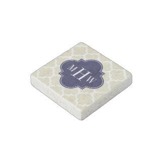 Beige, White Moroccan #5 Navy 3 Initial Monogram Stone Magnet