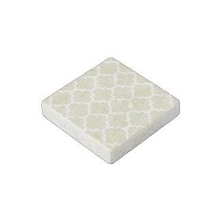 Beige White Moroccan Quatrefoil Pattern 5 Stone Magnet