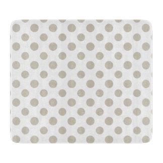 Beige White Polka Dots Pattern Cutting Boards