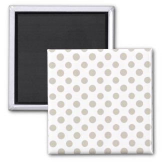 Beige White Polka Dots Pattern Refrigerator Magnet