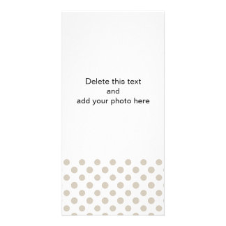 Beige White Polka Dots Pattern Personalized Photo Card