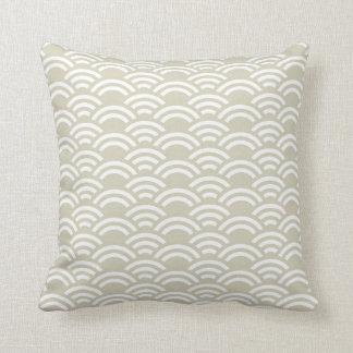Beige White Scallop Pattern Decorative Pillow