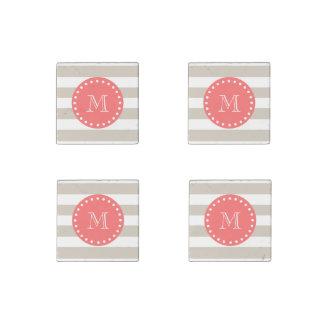 Beige White Stripes Pattern, Coral Monogram Stone Magnet