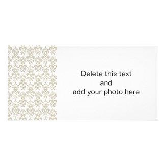 BEIGE WHITE VINTAGE DAMASK PATTERN 2 PERSONALIZED PHOTO CARD