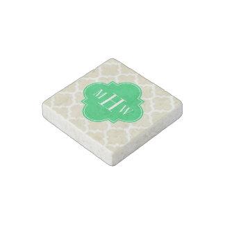 Beige, Wht Moroccan #5 Emerald 3 Initial Monogram Stone Magnets