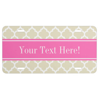 Beige Wht Moroccan #5 Hot Pink #2 Name Monogram License Plate