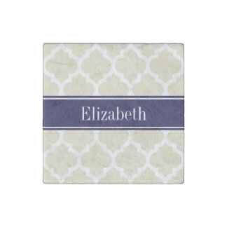 Beige Wht Moroccan #5 Navy Blue Name Monogram Stone Magnets