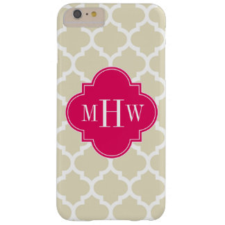 Beige Wht Moroccan #5 Raspberry 3 Initial Monogram Barely There iPhone 6 Plus Case