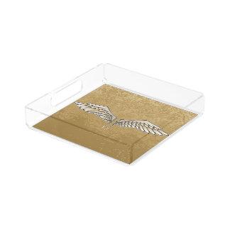 Beige wings acrylic tray