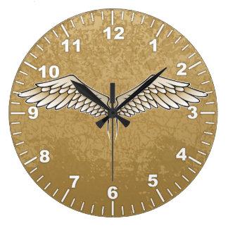 Beige wings clocks