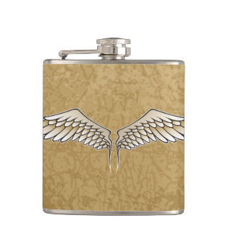 Beige wings hip flask