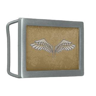 Beige wings rectangular belt buckles