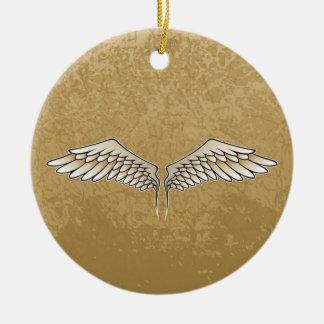 Beige wings round ceramic ornament