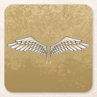 Beige wings square paper coaster