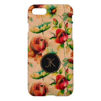 Beige Wood & Red Roses iPhone 8/7 Case