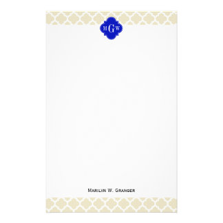 Beige Wt Moroccan #5 Royal Blue 3 Initial Monogram Personalized Stationery