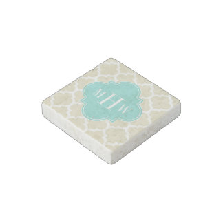Beige, Wt Moroccan #5 Turquoise 3 Initial Monogram Stone Magnets