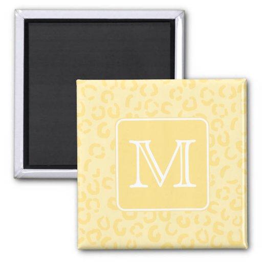 Beige Yellow Leopard Print. Custom Monogram. Fridge Magnets