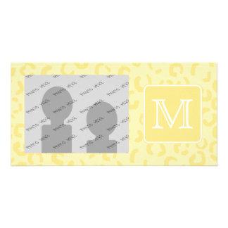 Beige Yellow Leopard Print. Custom Monogram. Photo Cards