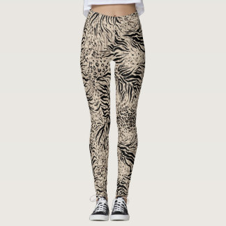 Beige Zebra Print Women Leggings