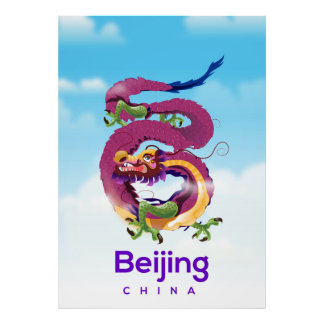 Beijing China Dragon travel poster