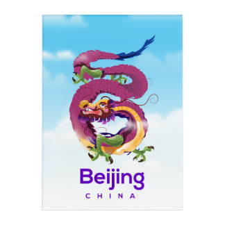 Beijing China Dragon travel poster Acrylic Print