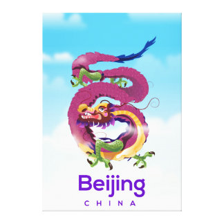 Beijing China Dragon travel poster Canvas Print