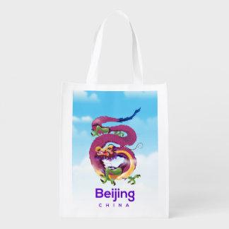 Beijing China Dragon travel poster Reusable Grocery Bag