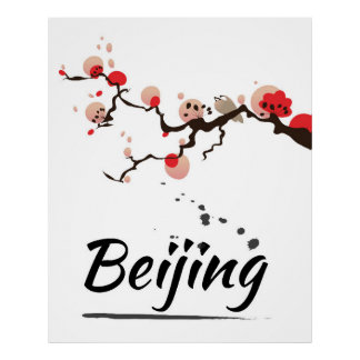 Beijing China Vintage Travel Art Poster