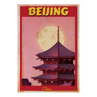 Beijing China vintage travel poster