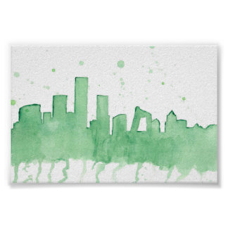Beijing's skyline in green watercolour poster