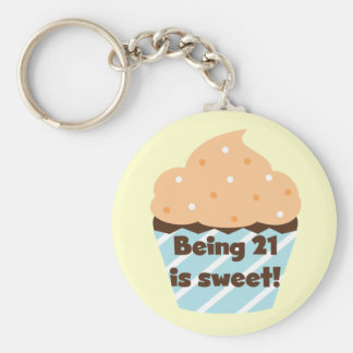 Being 21 is Sweet Birthday T-shirts and Gifts Keychain