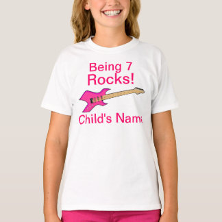 Being 7 Rocks! Girl's Guitar Shirt Design