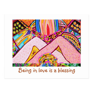 Being in love is a blessing postcard